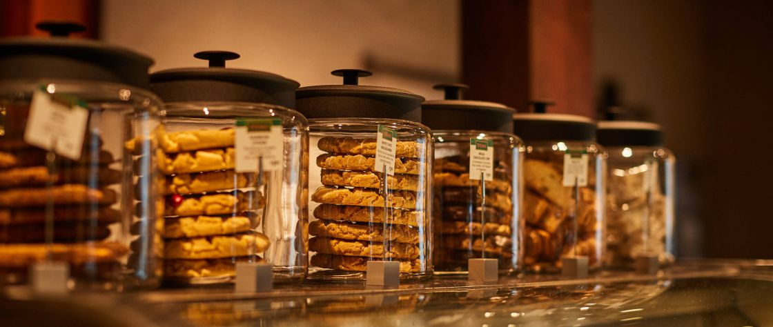 Close up of the biscuits in jars on the counter in the Dome Cafe in the Premier Mill Hotel
