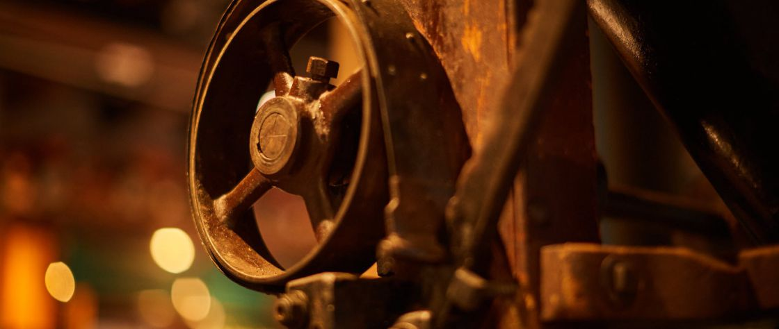 Close up of some old equipment which is now being used as decoration in the restored Premier Mill Hotel